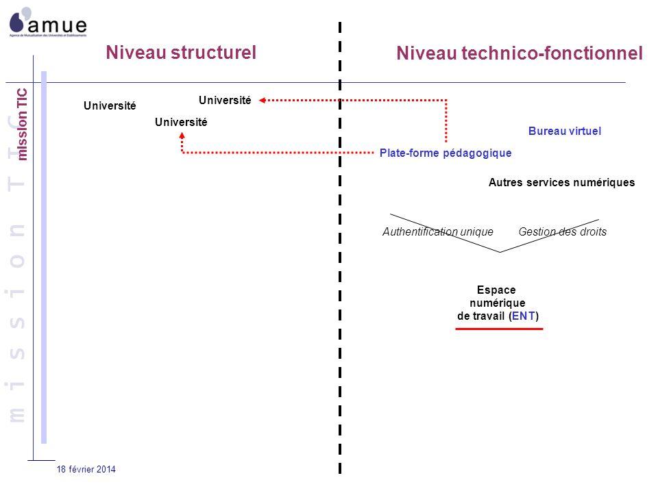 18 février 2014 Niveau structurel Niveau technico-fonctionnel Université Plate-forme pédagogique Espace numérique de travail (ENT) Bureau virtuel Autr