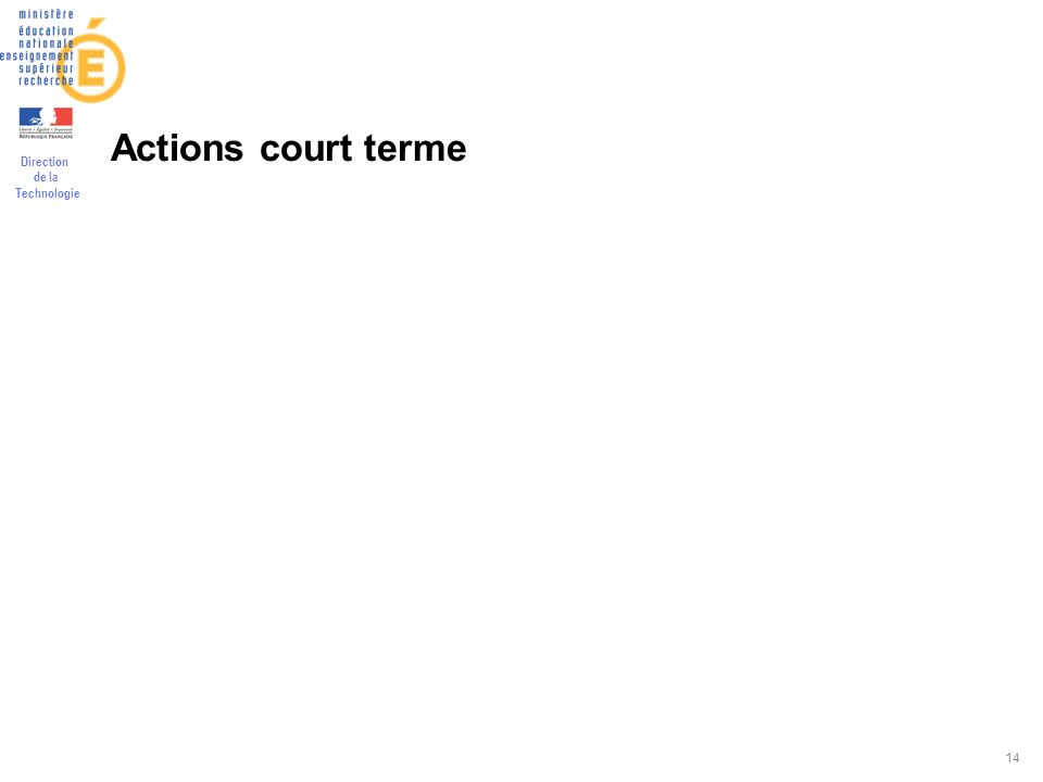 Direction de la Technologie 14 Actions court terme