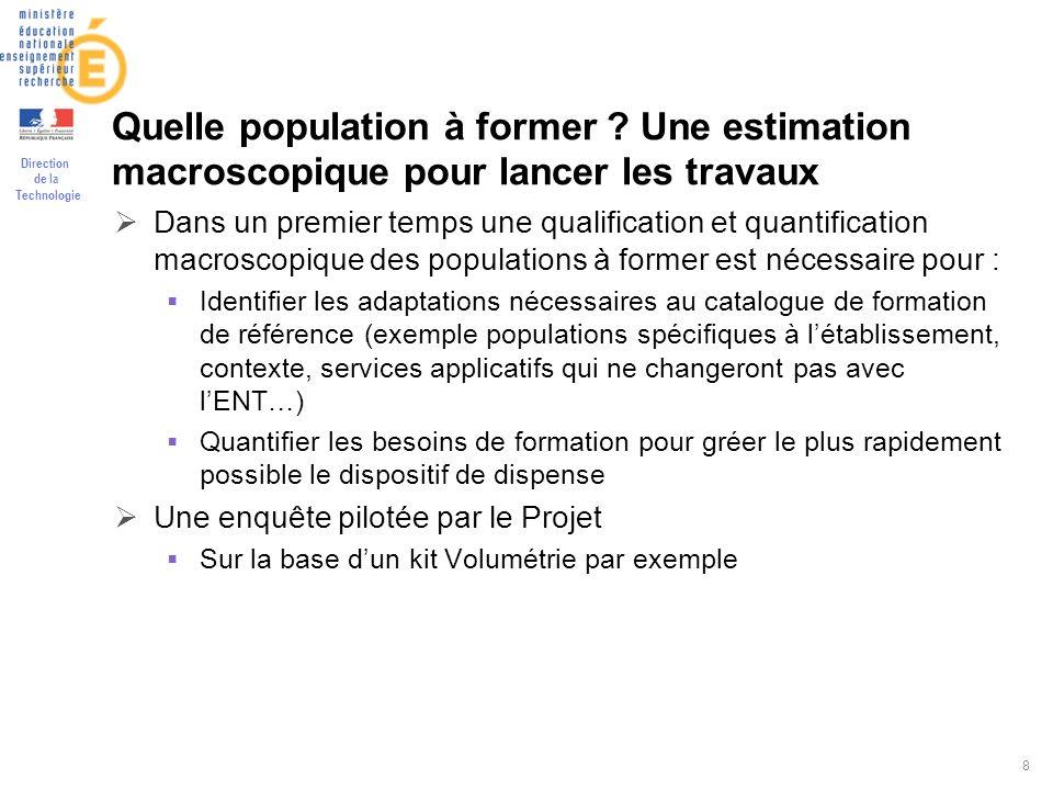 Direction de la Technologie 8 Quelle population à former ? Une estimation macroscopique pour lancer les travaux Dans un premier temps une qualificatio