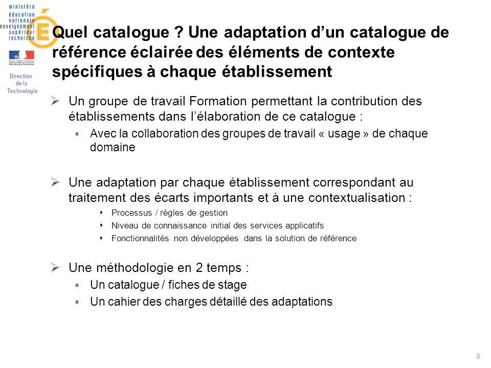 Direction de la Technologie 9 Quel catalogue ? Une adaptation dun catalogue de référence éclairée des éléments de contexte spécifiques à chaque établi