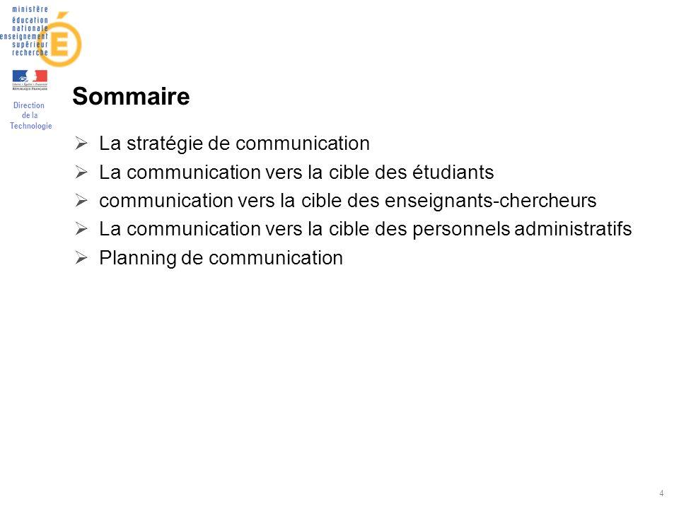Direction de la Technologie 4 Sommaire La stratégie de communication La communication vers la cible des étudiants communication vers la cible des ense