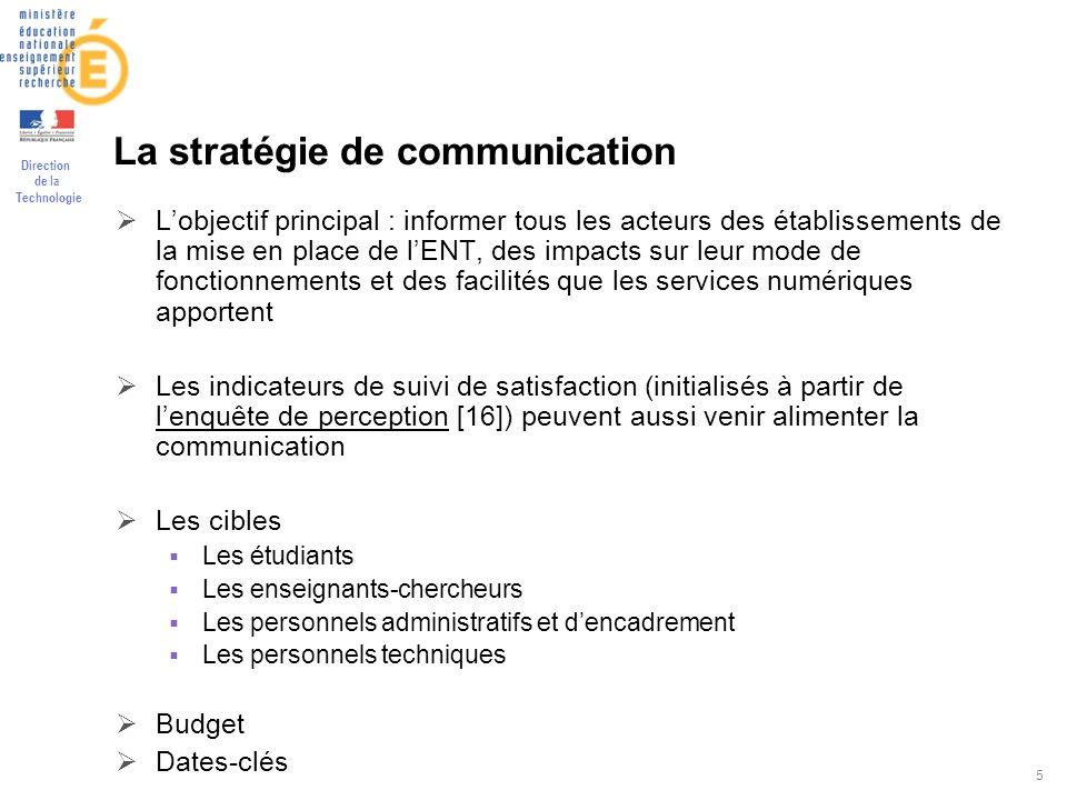 Direction de la Technologie 5 La stratégie de communication Lobjectif principal : informer tous les acteurs des établissements de la mise en place de