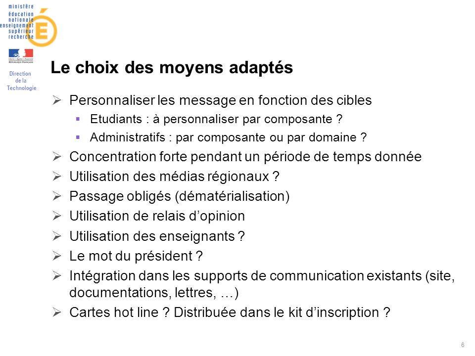 Direction de la Technologie 6 Le choix des moyens adaptés Personnaliser les message en fonction des cibles Etudiants : à personnaliser par composante