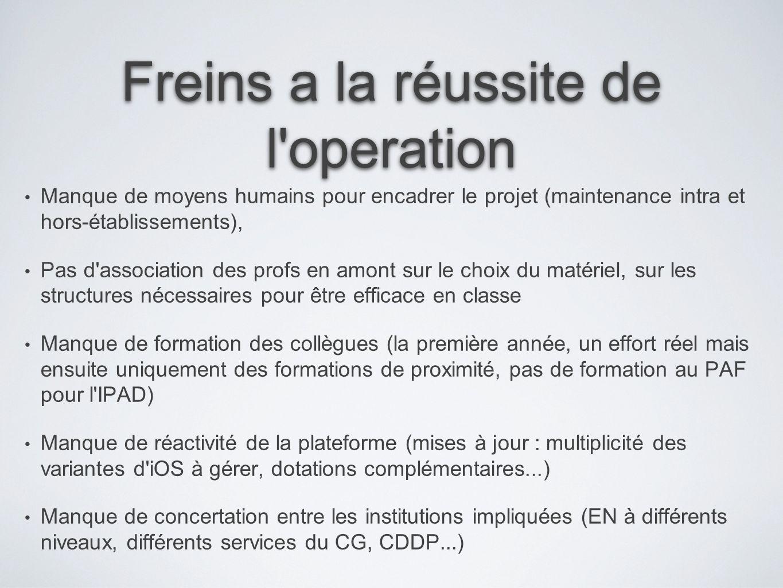 Freins a la réussite de l'operation Manque de moyens humains pour encadrer le projet (maintenance intra et hors-établissements), Pas d'association des