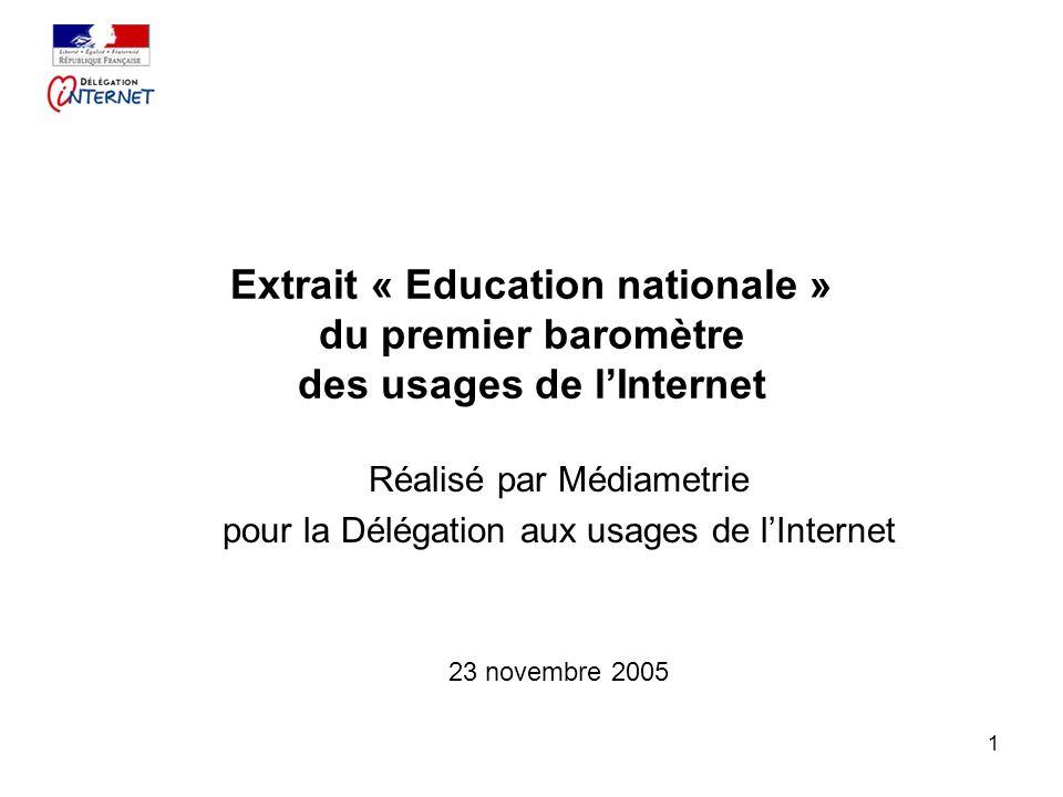1 Extrait « Education nationale » du premier baromètre des usages de lInternet Réalisé par Médiametrie pour la Délégation aux usages de lInternet 23 novembre 2005