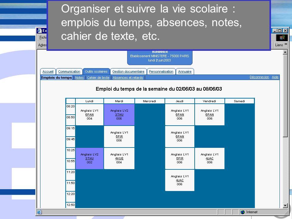 E 10 Organiser et suivre la vie scolaire : emplois du temps, absences, notes, cahier de texte, etc.