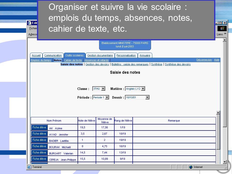 E 11 Organiser et suivre la vie scolaire : emplois du temps, absences, notes, cahier de texte, etc.