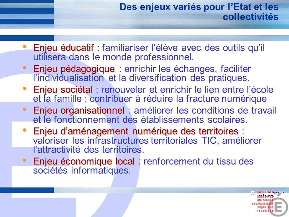 E 19 Des enjeux variés pour lEtat et les collectivités Enjeu éducatif Enjeu éducatif : familiariser lélève avec des outils quil utilisera dans le monde professionnel.
