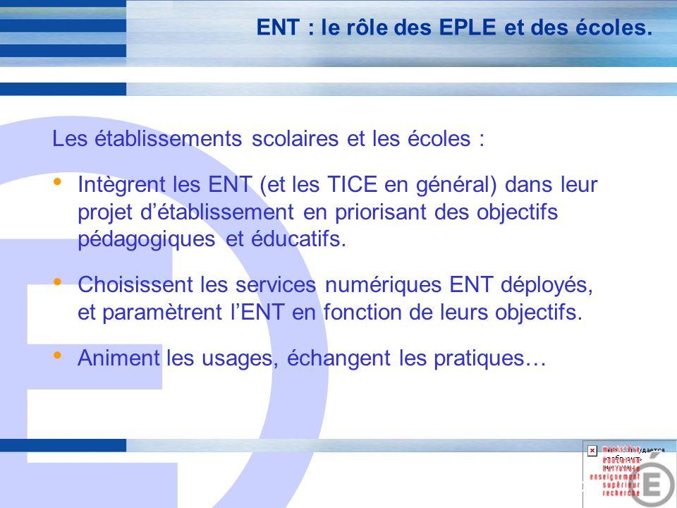E 20 ENT : le rôle des EPLE et des écoles.