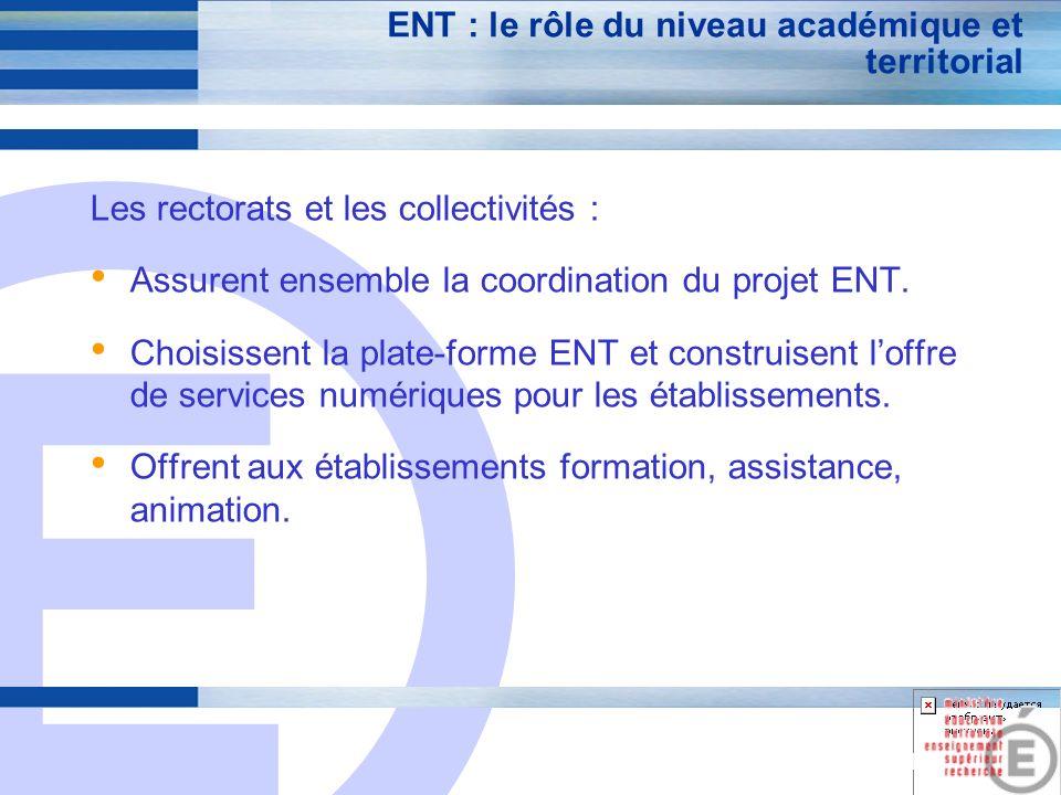 E 21 ENT : le rôle du niveau académique et territorial Les rectorats et les collectivités : Assurent ensemble la coordination du projet ENT.