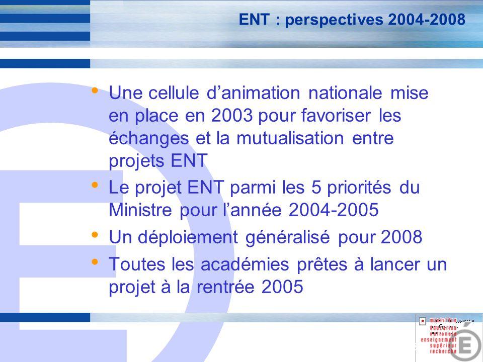 E 23 ENT : perspectives 2004-2008 Une cellule danimation nationale mise en place en 2003 pour favoriser les échanges et la mutualisation entre projets ENT Le projet ENT parmi les 5 priorités du Ministre pour lannée 2004-2005 Un déploiement généralisé pour 2008 Toutes les académies prêtes à lancer un projet à la rentrée 2005