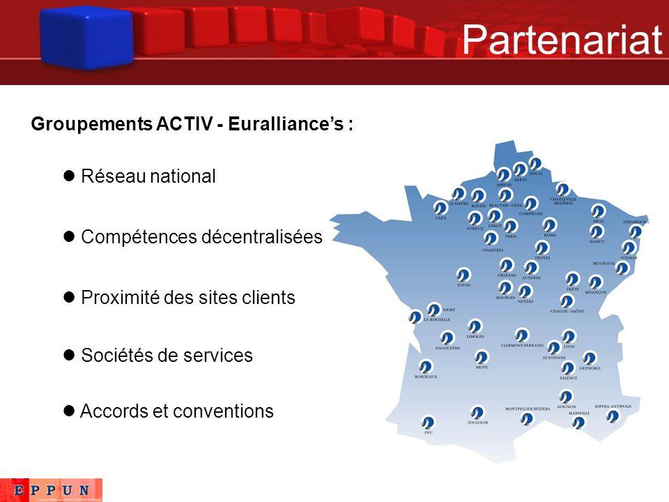 Partenariat Groupements ACTIV - Euralliances : Réseau national Proximité des sites clients Sociétés de services Compétences décentralisées Accords et conventions
