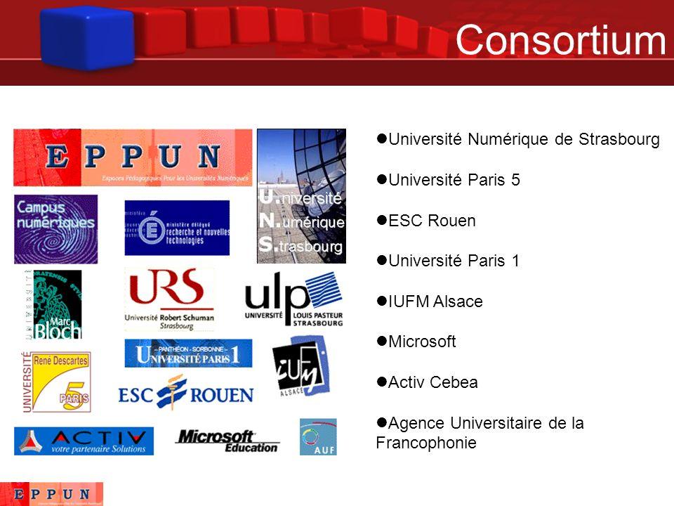 Consortium Université Numérique de Strasbourg Université Paris 5 ESC Rouen Université Paris 1 IUFM Alsace Microsoft Activ Cebea Agence Universitaire de la Francophonie