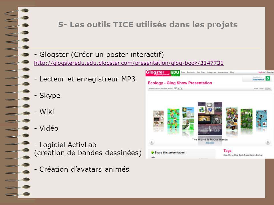 5- Les outils TICE utilisés dans les projets - Glogster (Créer un poster interactif) http://glogsteredu.edu.glogster.com/presentation/glog-book/314773