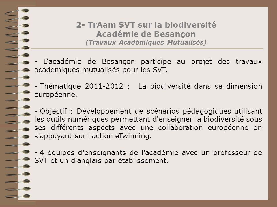 2- TrAam SVT sur la biodiversité Académie de Besançon (Travaux Académiques Mutualisés) - Lacadémie de Besançon participe au projet des travaux académi