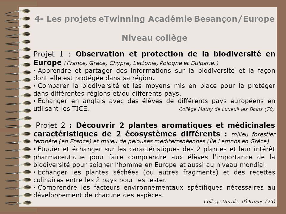 4- Les projets eTwinning Académie Besançon/Europe Niveau collège Projet 1 : Observation et protection de la biodiversité en Europe (France, Grèce, Chy