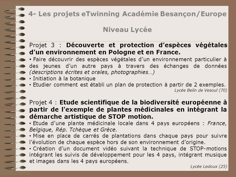 4- Les projets eTwinning Académie Besançon/Europe Niveau Lycée Projet 3 : Découverte et protection despèces végétales dun environnement en Pologne et