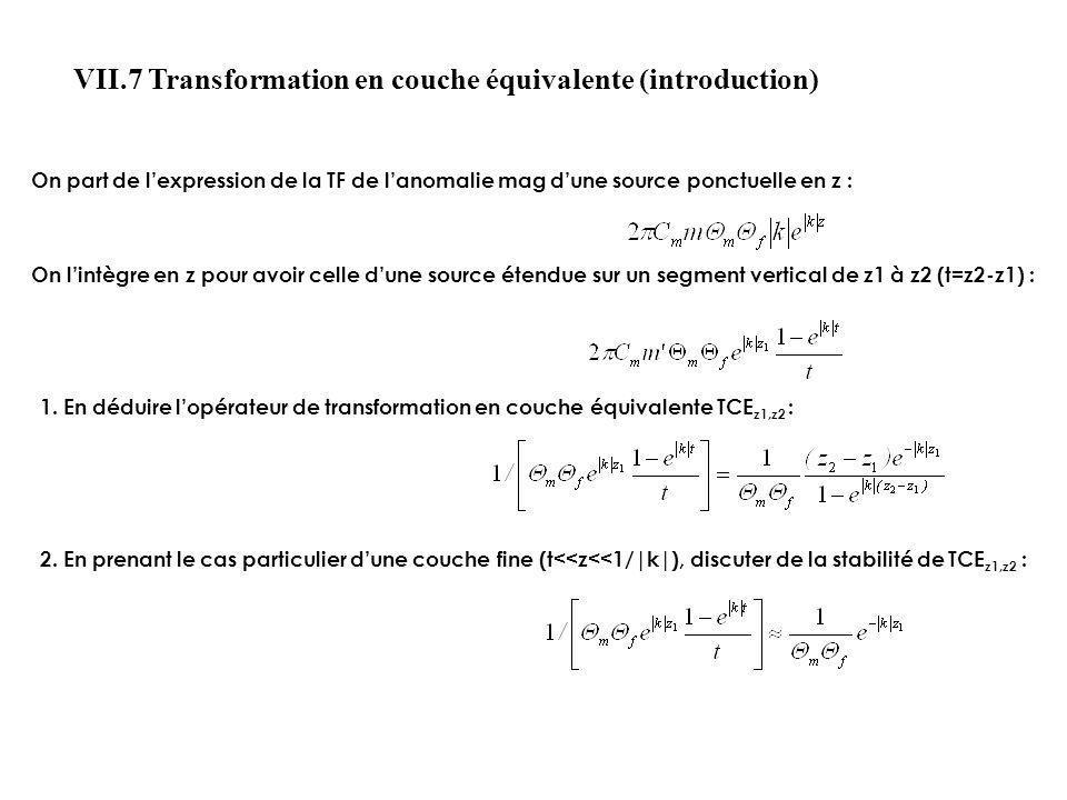 On part de lexpression de la TF de lanomalie mag dune source ponctuelle en z : On lintègre en z pour avoir celle dune source étendue sur un segment ve