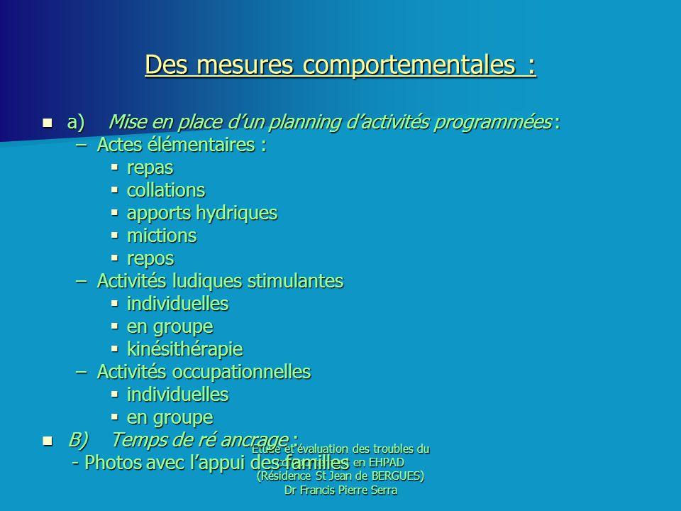 Etude et évaluation des troubles du comportement en EHPAD (Résidence St Jean de BERGUES) Dr Francis Pierre Serra Des mesures comportementales : a) Mis