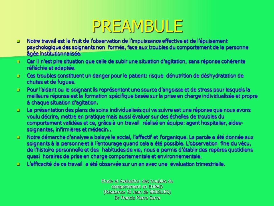 Etude et évaluation des troubles du comportement en EHPAD (Résidence St Jean de BERGUES) Dr Francis Pierre Serra PRESENTATION DE NOTRE PRISE EN CHARGE NON MEDICAMENTEUSE DES TROUBLES DU COMPORTEMENT
