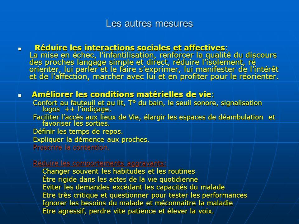 Les autres mesures Réduire les interactions sociales et affectives: La mise en échec, linfantilisation, renforcer la qualité du discours des proches l