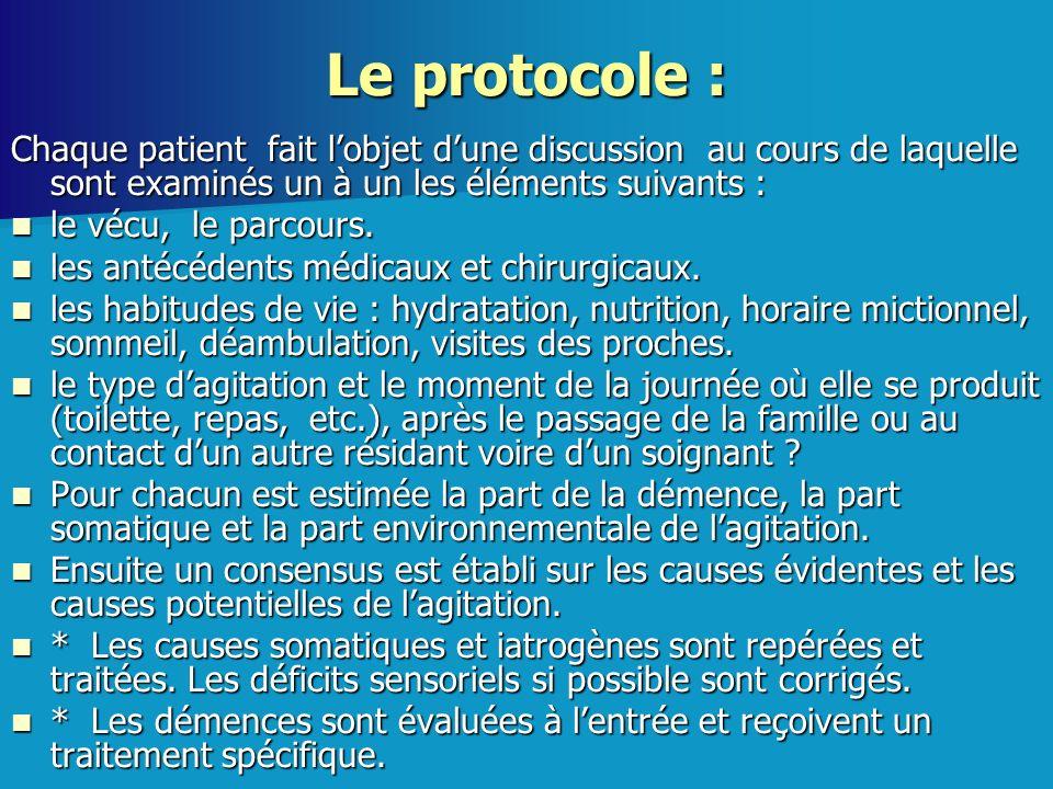 Le protocole : Chaque patient fait lobjet dune discussion au cours de laquelle sont examinés un à un les éléments suivants : le vécu, le parcours. le