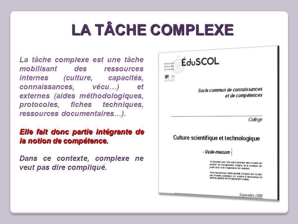 LA TÂCHE COMPLEXE La tâche complexe est une tâche mobilisant des ressources internes (culture, capacités, connaissances, vécu…) et externes (aides mét