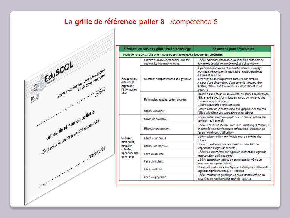 La grille de référence palier 3 /compétence 3
