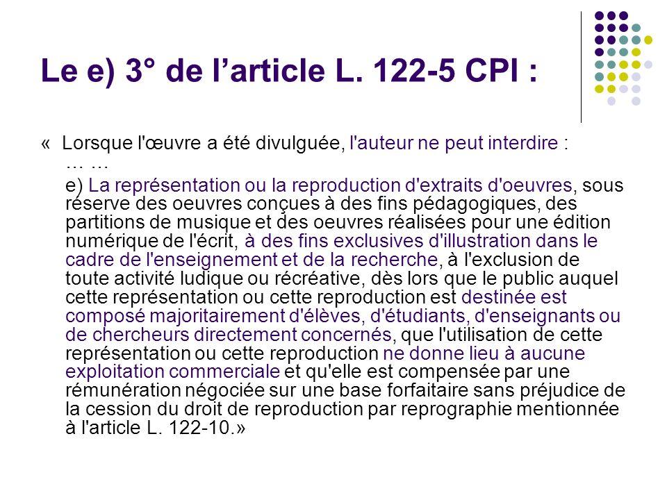 Le e) 3° de larticle L.