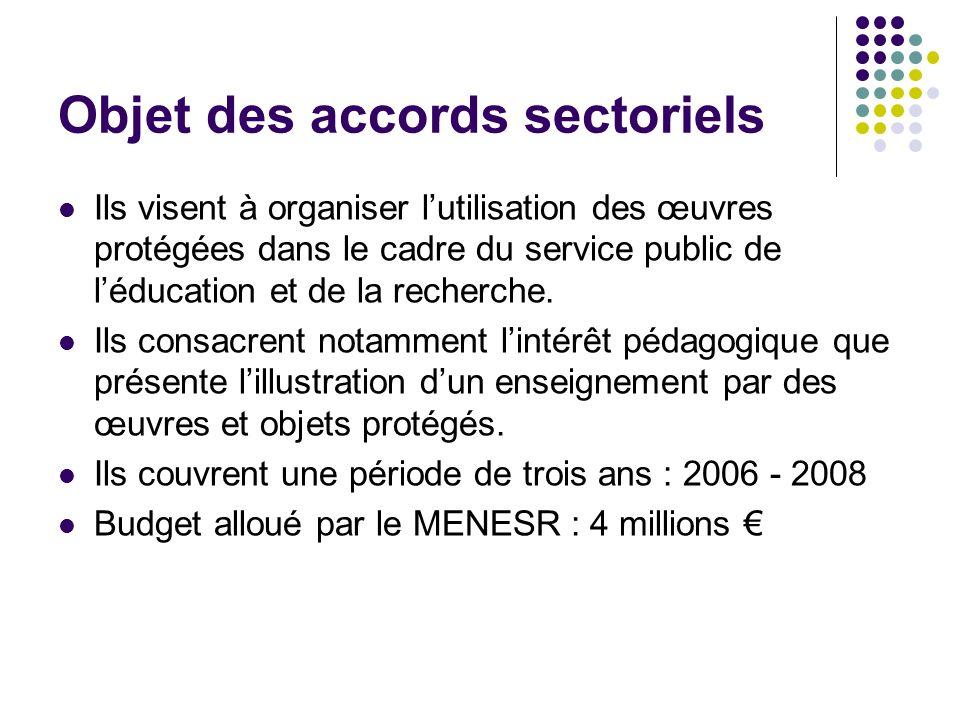 Objet des accords sectoriels Ils visent à organiser lutilisation des œuvres protégées dans le cadre du service public de léducation et de la recherche.
