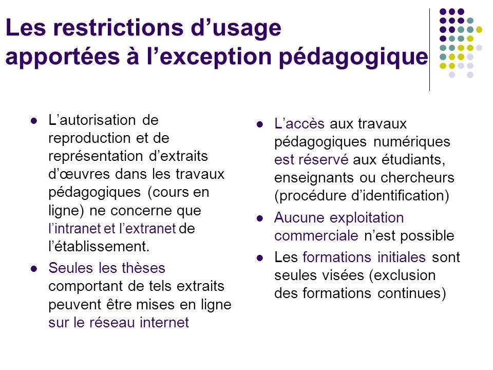 Les restrictions dusage apportées à lexception pédagogique Lautorisation de reproduction et de représentation dextraits dœuvres dans les travaux pédagogiques (cours en ligne) ne concerne que lintranet et lextranet de létablissement.