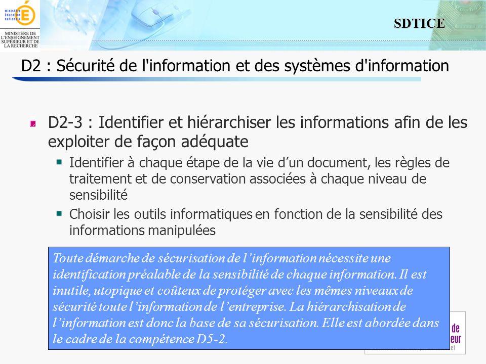 6 SDTICE Séminaire 24/09/2009 D2 : Sécurité de l information et des systèmes d information D2-4 : Évaluer la sûreté des procédures et connaître la limite des outils permettant de traiter linformation, selon le lieu et le mode d accès Identifier la typologie dusage des accès au réseau de lentreprise, Associer risque/niveau de confidentialité à chaque typologie daccès Respecter les contraintes imposées par lentreprise.