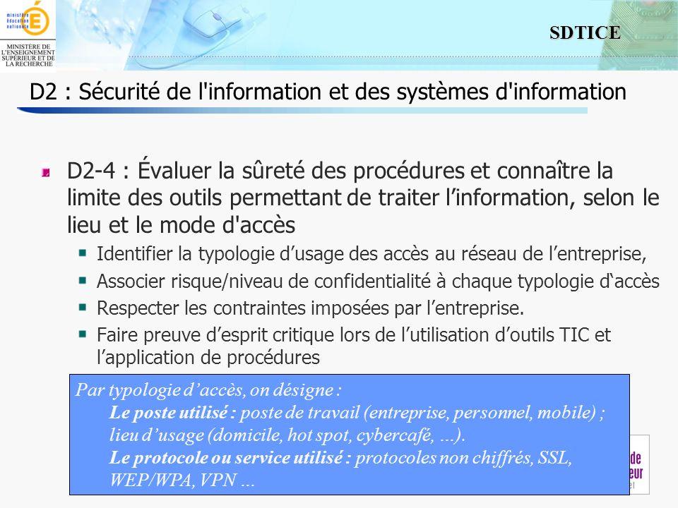 6 SDTICE Séminaire 24/09/2009 D2 : Sécurité de l'information et des systèmes d'information D2-4 : Évaluer la sûreté des procédures et connaître la lim