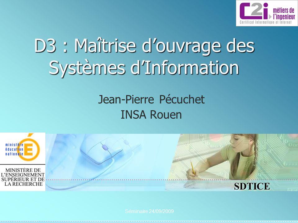 SDTICE D3 : Maîtrise douvrage des Systèmes dInformation Jean-Pierre Pécuchet INSA Rouen Séminaire 24/09/2009