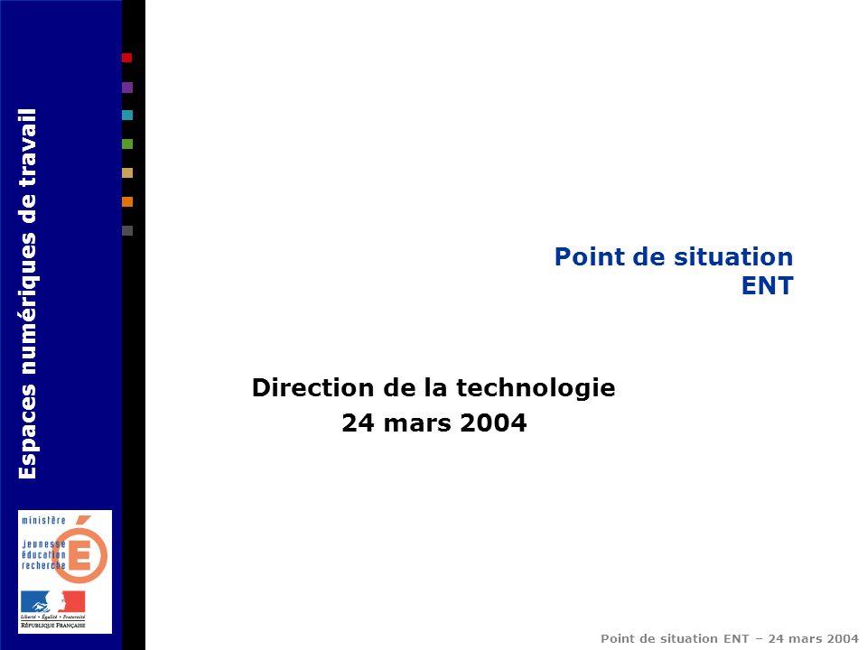 Espaces numériques de travail Point de situation ENT – 24 mars 2004 Point de situation ENT Direction de la technologie 24 mars 2004