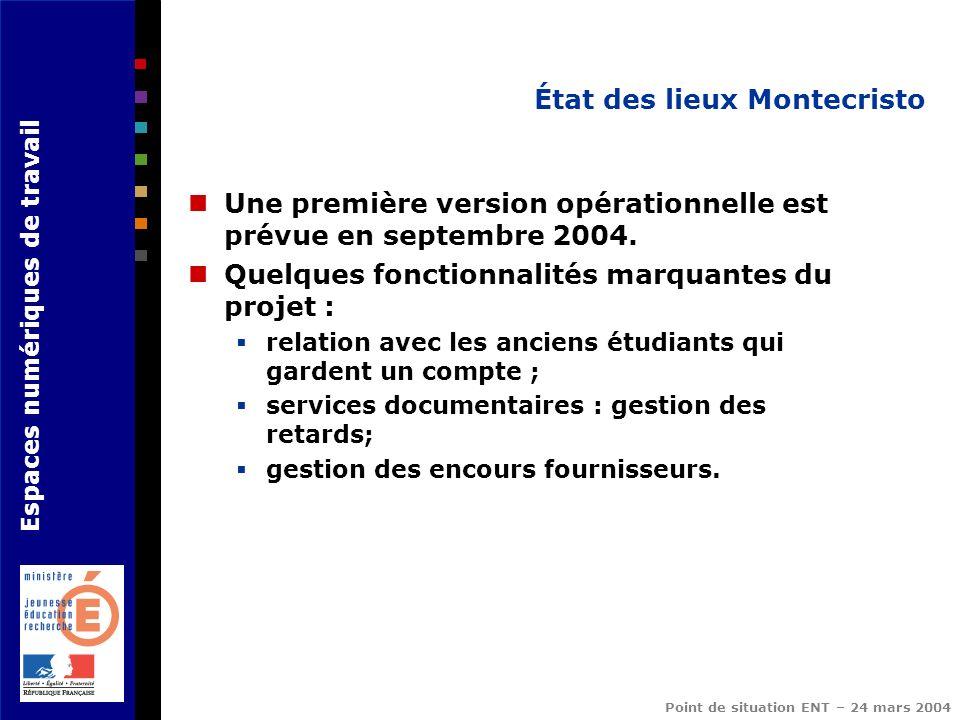 Espaces numériques de travail Point de situation ENT – 24 mars 2004 État des lieux Montecristo Une première version opérationnelle est prévue en septe
