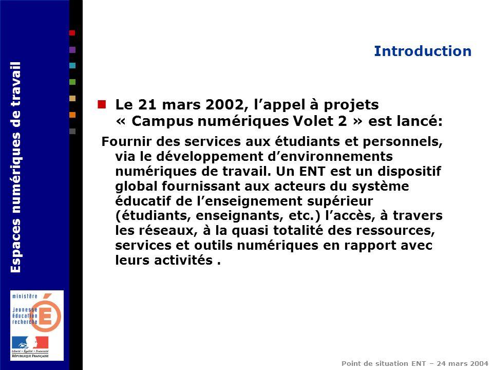Espaces numériques de travail Point de situation ENT – 24 mars 2004 Introduction Le 21 mars 2002, lappel à projets « Campus numériques Volet 2 » est l