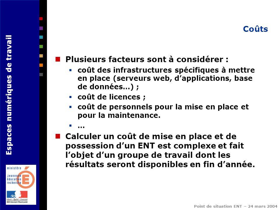 Espaces numériques de travail Point de situation ENT – 24 mars 2004 Coûts Plusieurs facteurs sont à considérer : coût des infrastructures spécifiques