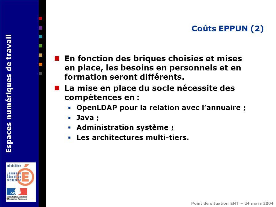 Espaces numériques de travail Point de situation ENT – 24 mars 2004 Coûts EPPUN (2) En fonction des briques choisies et mises en place, les besoins en