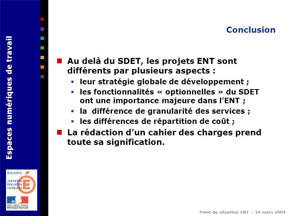 Espaces numériques de travail Point de situation ENT – 24 mars 2004 Conclusion Au delà du SDET, les projets ENT sont différents par plusieurs aspects