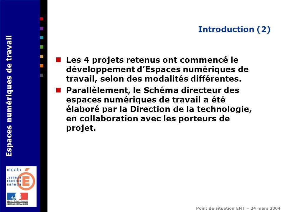Espaces numériques de travail Point de situation ENT – 24 mars 2004 Introduction (2) Les 4 projets retenus ont commencé le développement dEspaces numé