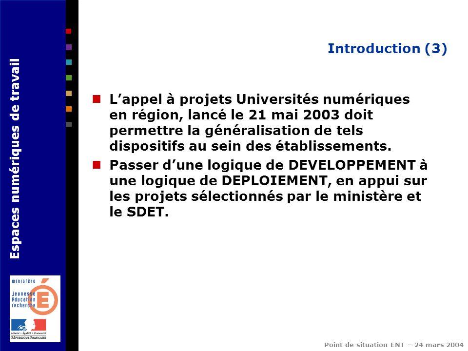 Espaces numériques de travail Point de situation ENT – 24 mars 2004 Introduction (3) Lappel à projets Universités numériques en région, lancé le 21 ma