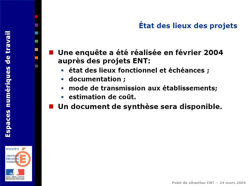 Espaces numériques de travail Point de situation ENT – 24 mars 2004 État des lieux des projets Une enquête a été réalisée en février 2004 auprès des p