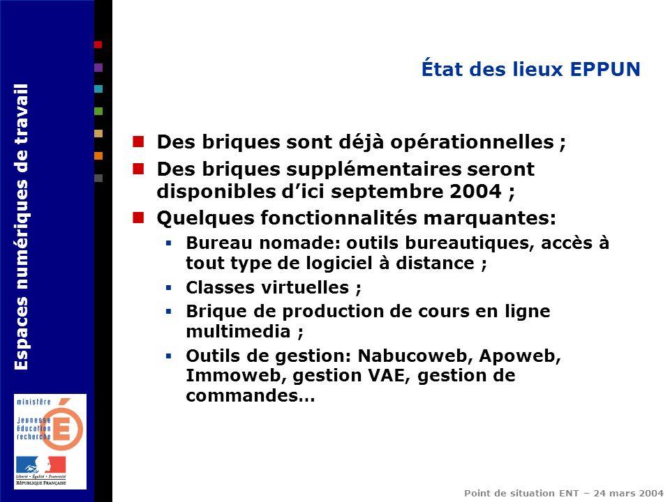 Espaces numériques de travail Point de situation ENT – 24 mars 2004 État des lieux EPPUN Des briques sont déjà opérationnelles ; Des briques supplémen