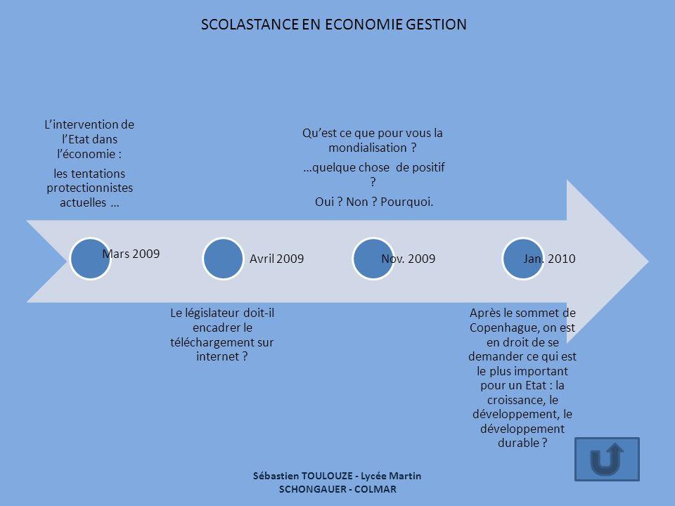 SCOLASTANCE EN ECONOMIE GESTION Lintervention de lEtat dans léconomie : les tentations protectionnistes actuelles … Le législateur doit-il encadrer le