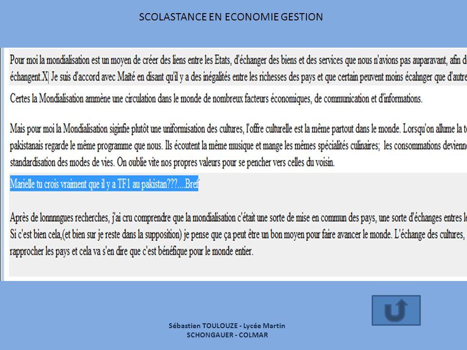 SCOLASTANCE EN ECONOMIE GESTION Sébastien TOULOUZE - Lycée Martin SCHONGAUER - COLMAR
