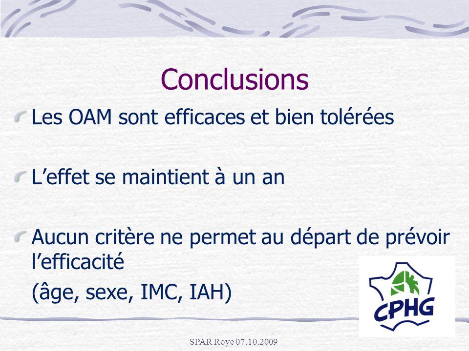 SPAR Roye 07.10.2009 Conclusions Les OAM sont efficaces et bien tolérées Leffet se maintient à un an Aucun critère ne permet au départ de prévoir leff