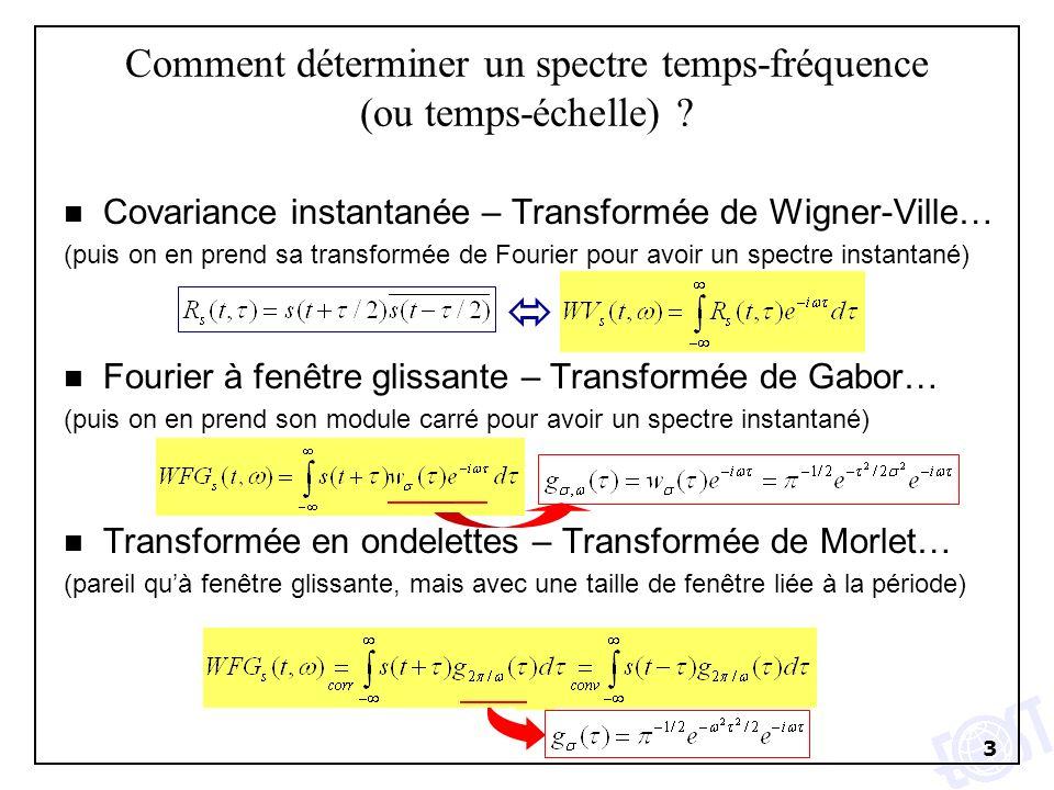 3 Comment déterminer un spectre temps-fréquence (ou temps-échelle) ? n Covariance instantanée – Transformée de Wigner-Ville… (puis on en prend sa tran