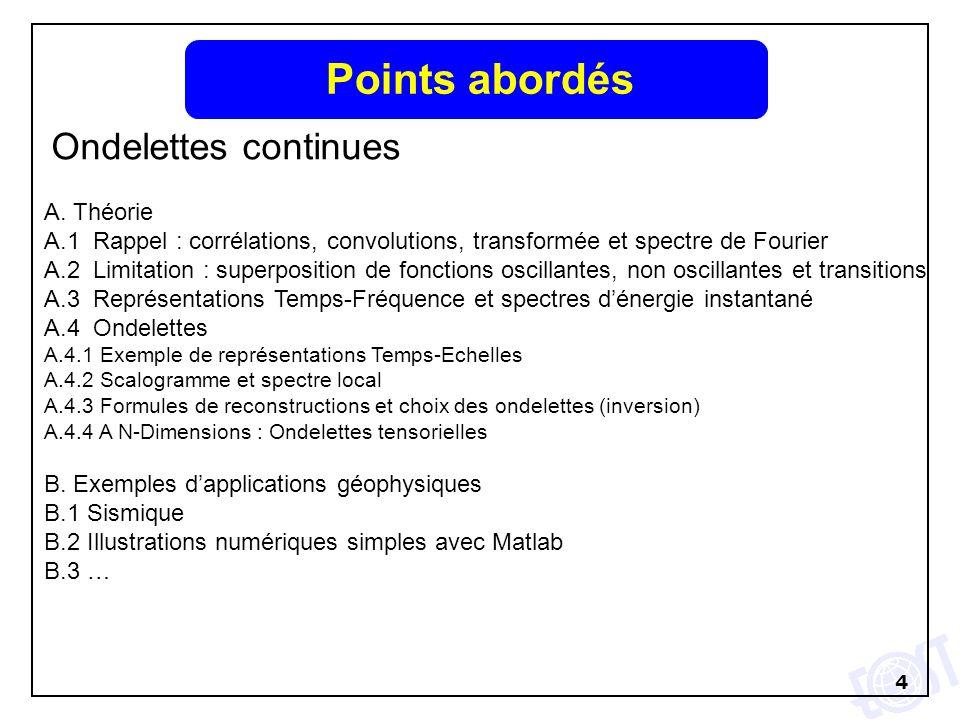 4 Points abordés Ondelettes continues A. Théorie A.1 Rappel : corrélations, convolutions, transformée et spectre de Fourier A.2 Limitation : superposi