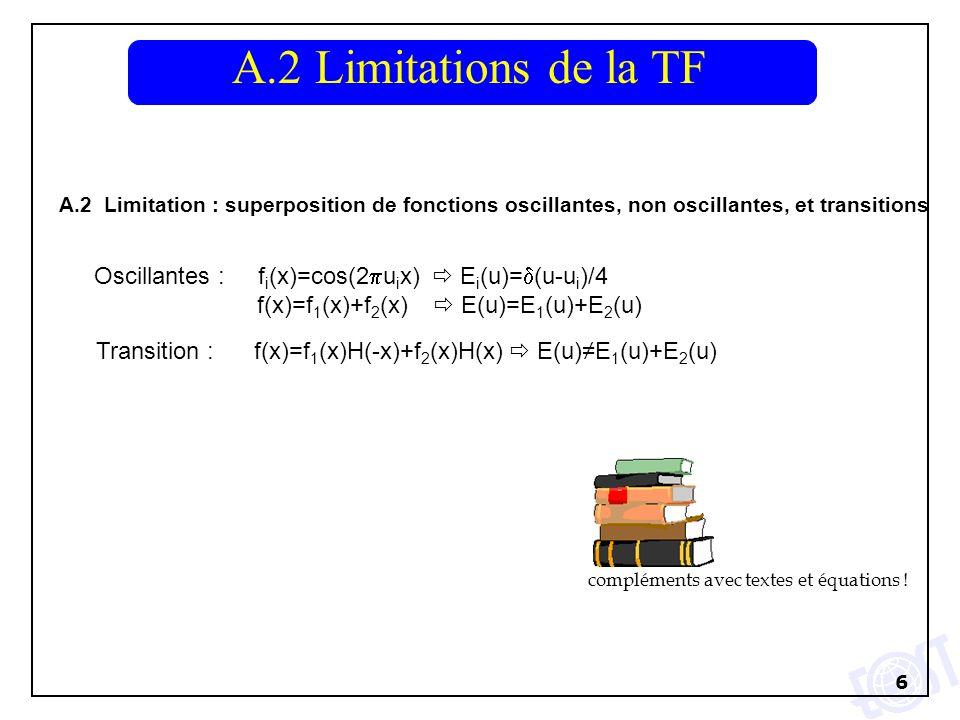 6 A.2 Limitation : superposition de fonctions oscillantes, non oscillantes, et transitions A.2 Limitations de la TF Oscillantes : f i (x)=cos(2 u i x) E i (u)= (u-u i )/4 f(x)=f 1 (x)+f 2 (x) E(u)=E 1 (u)+E 2 (u) Transition : f(x)=f 1 (x)H(-x)+f 2 (x)H(x) E(u)E 1 (u)+E 2 (u) compléments avec textes et équations !